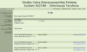 Import - opłaty celne - system ISZTAR